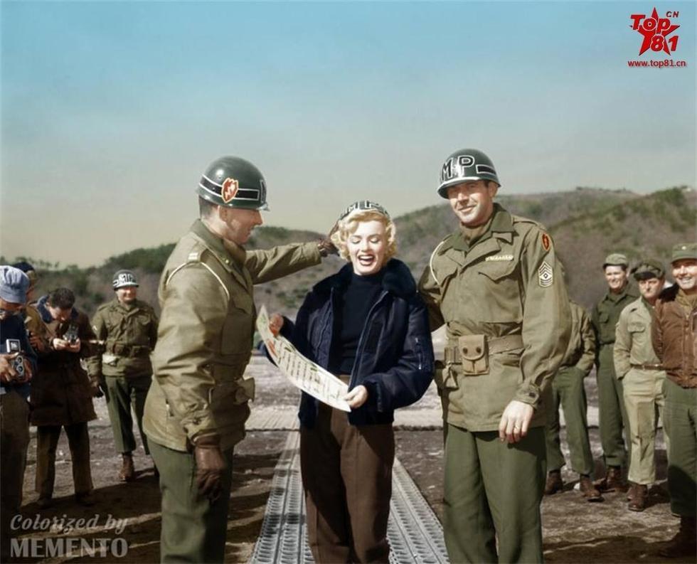组图:朝鲜战争彩色老照片 梦露劳军