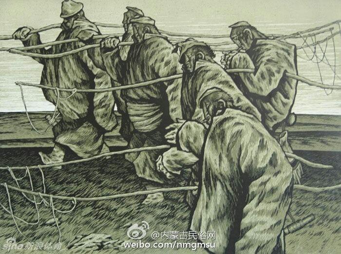 蒙古风景版画图