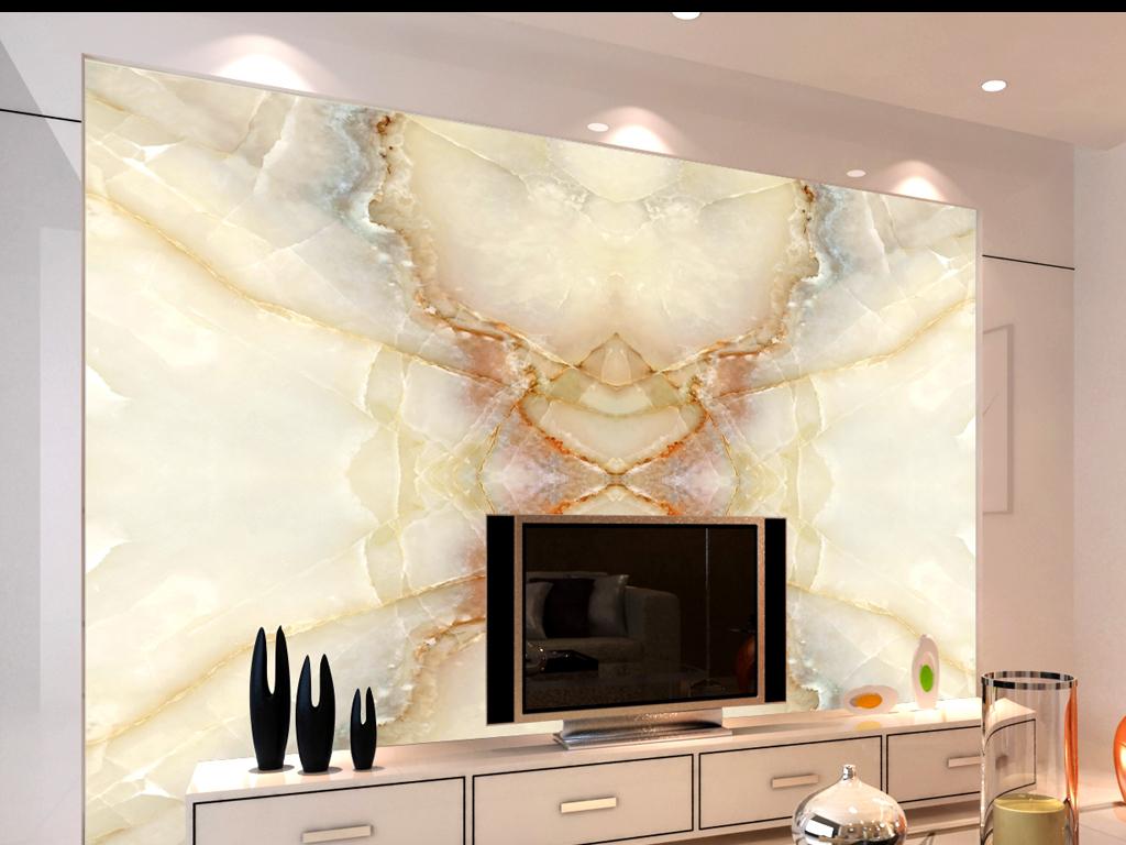 时尚精装修效果图大理石花纹电视背景墙