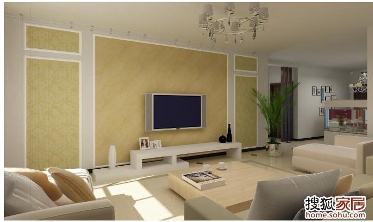 简欧风格电视墙带隐形门效果图