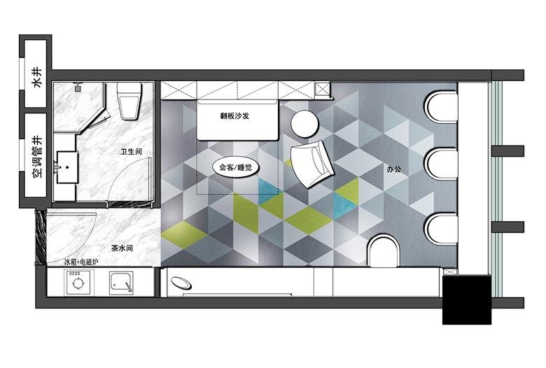 32㎡单身公寓设计实景图 灵动空间