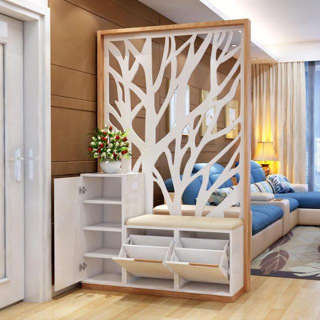欧式玄关双面屏风柜 一体式连带的镂空设计,带有鞋柜配置.
