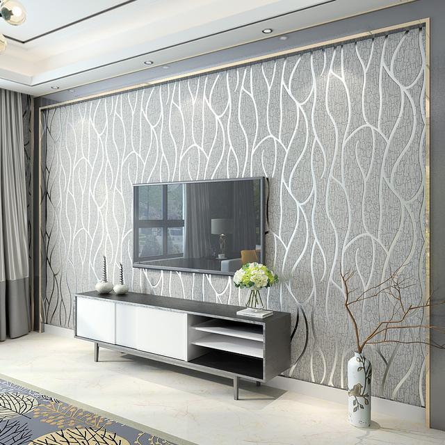 现代简约客厅无纺布电视背景墙墙纸图片