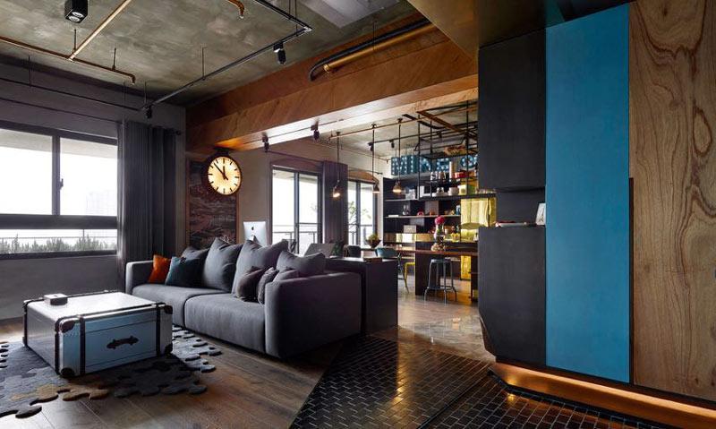 如小酒館般愜意 160平工業風公寓裝修圖片