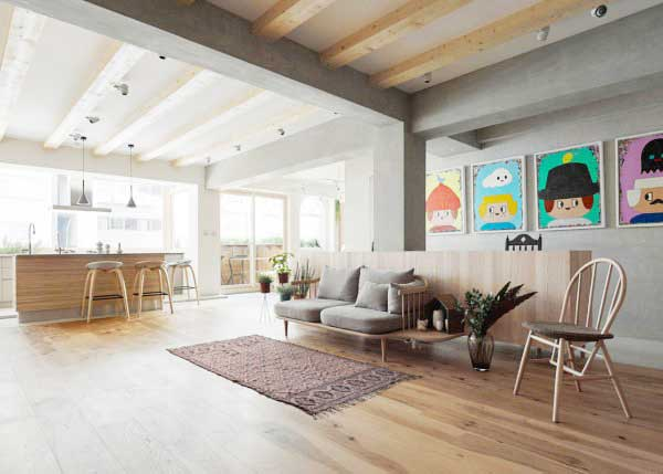 70平米单身公寓装修效果图 自然无拘束图片