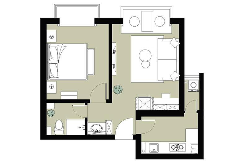 52平小户型一室一厅装修 老成都的慢节奏