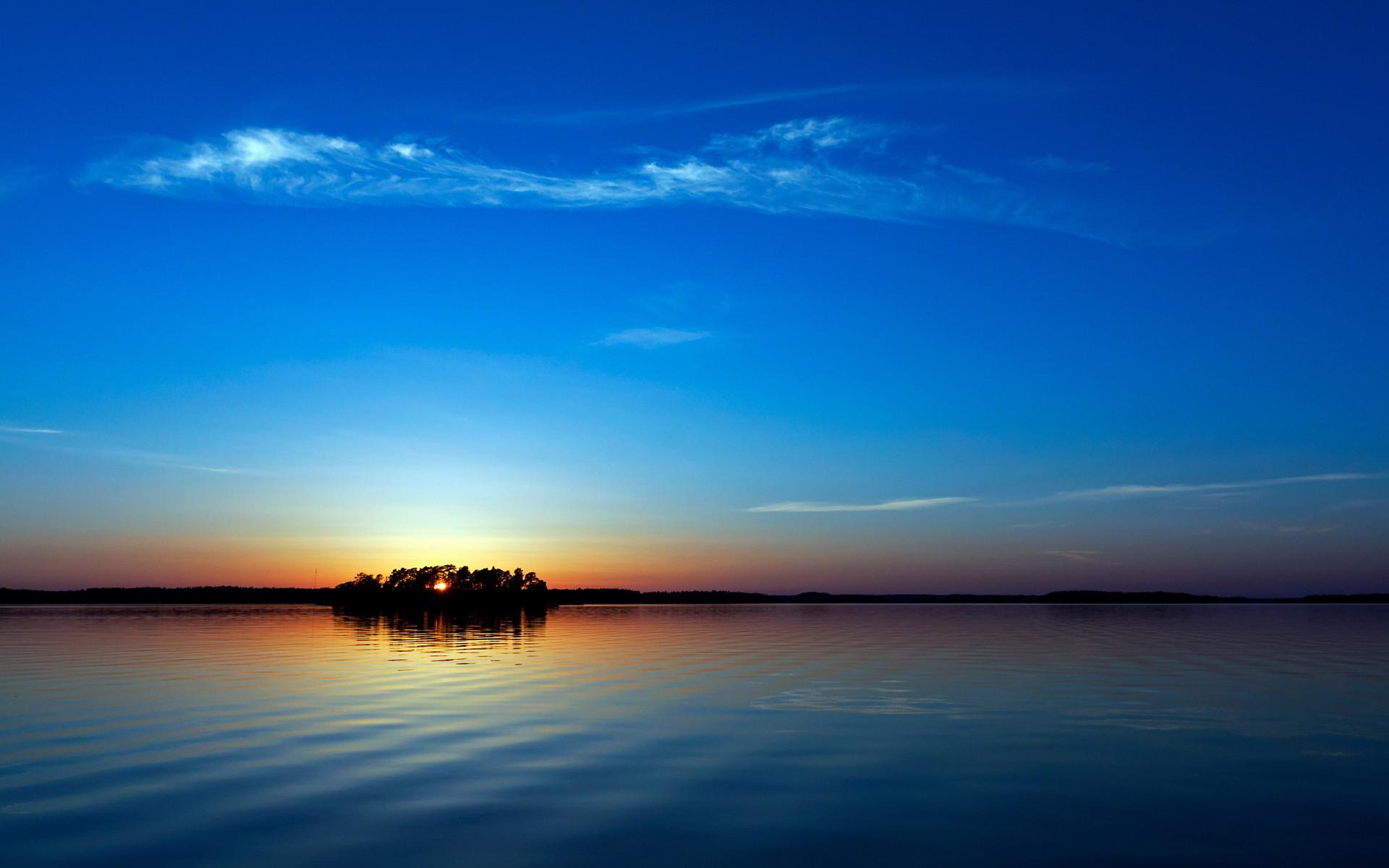 意境夜景壁纸高清大图 大自然山川河流山水相印桌面壁纸