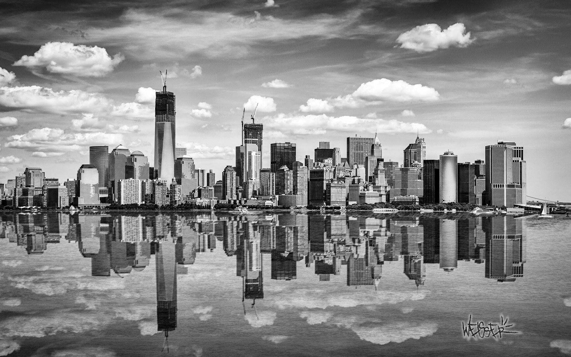 美国纽约夜景壁纸 美国纽约自由女神像桌面壁纸