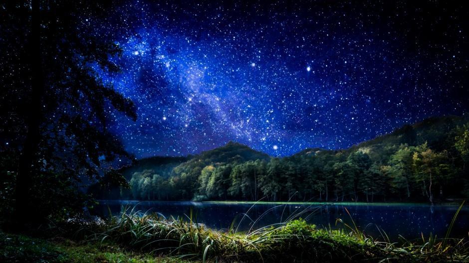 唯美夜晚漫天星空风景图片