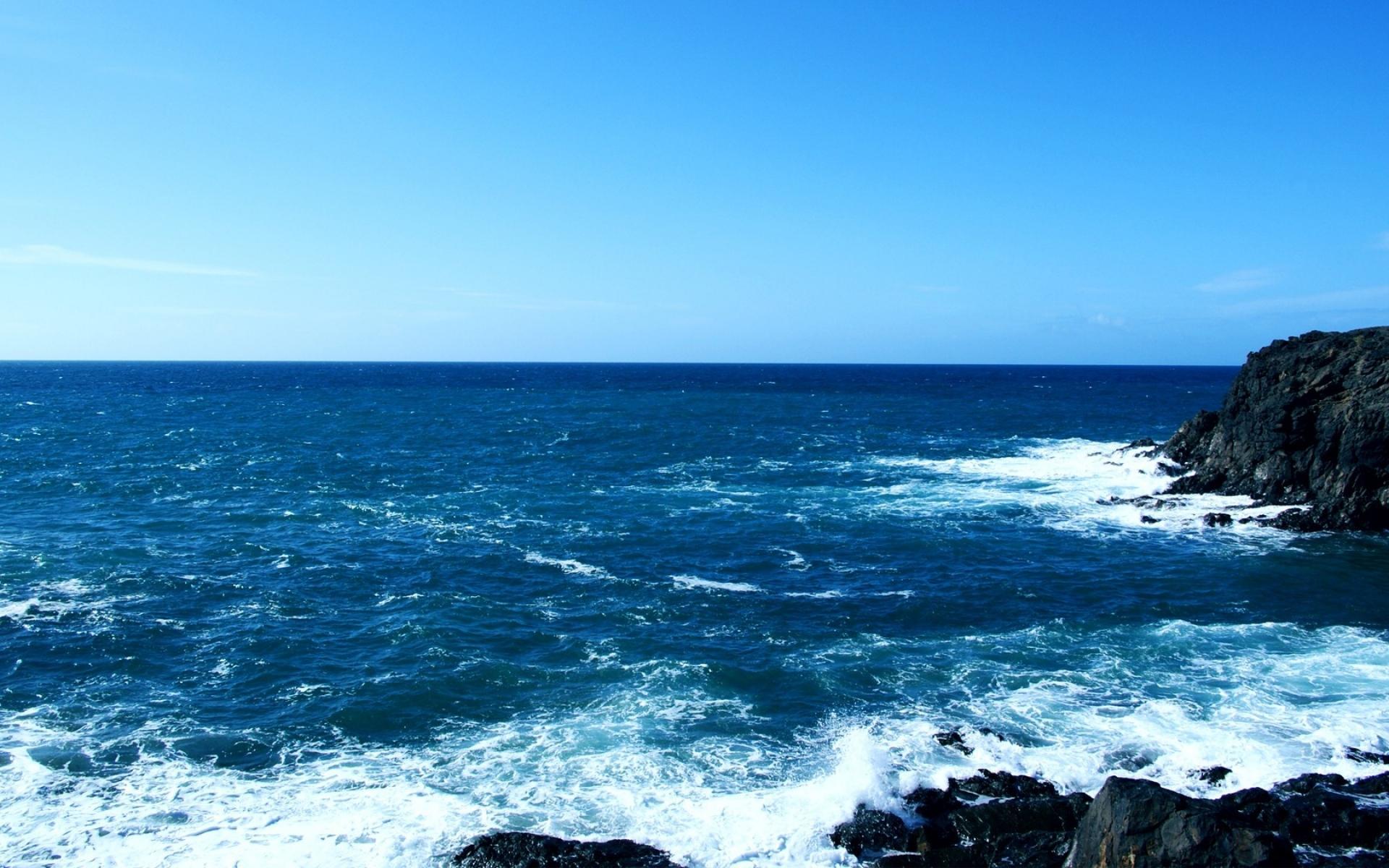 优美蓝色大海海浪风景图片桌面壁纸