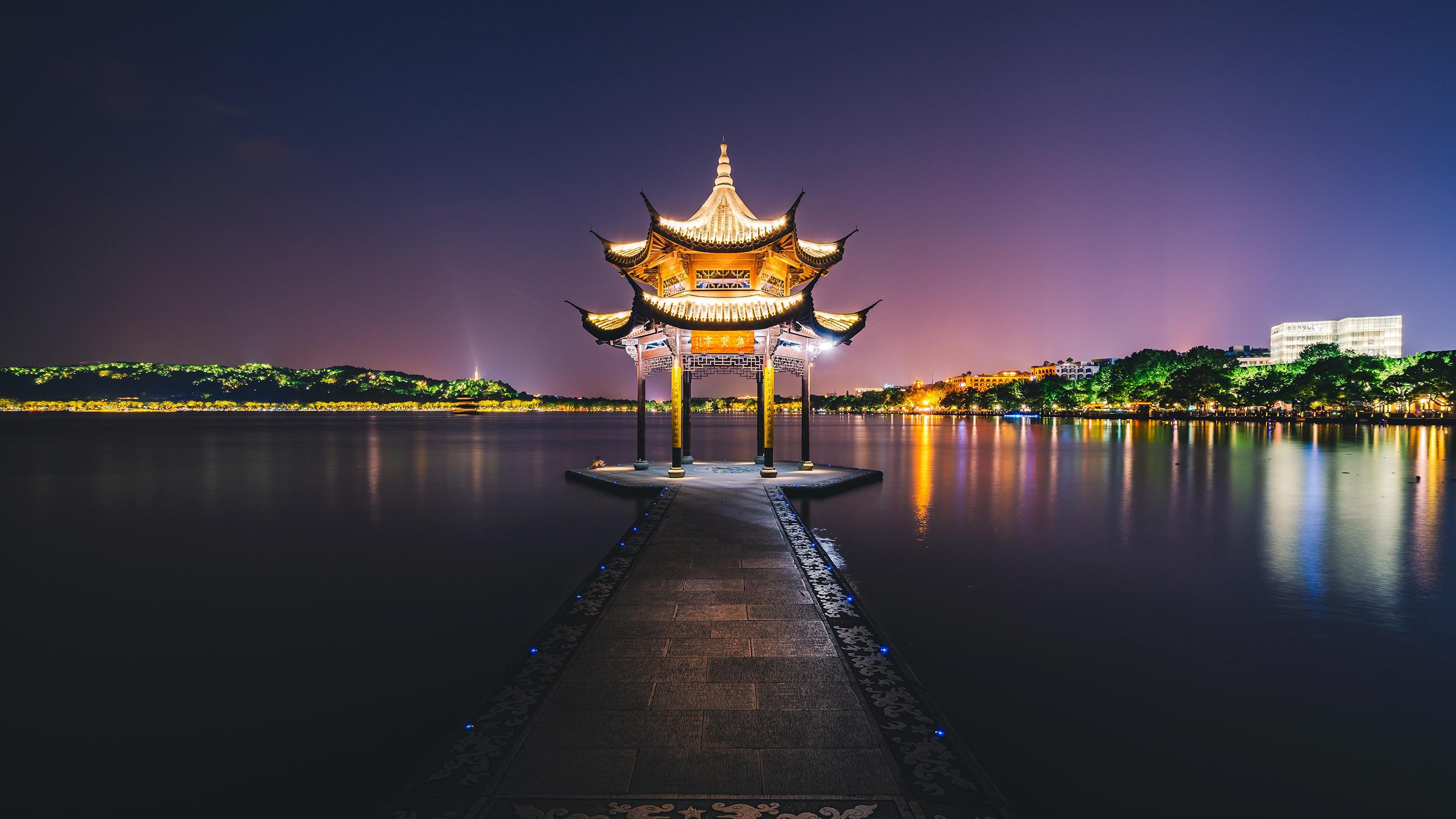 2k杭州西湖夜景摄影高清宽屏壁纸