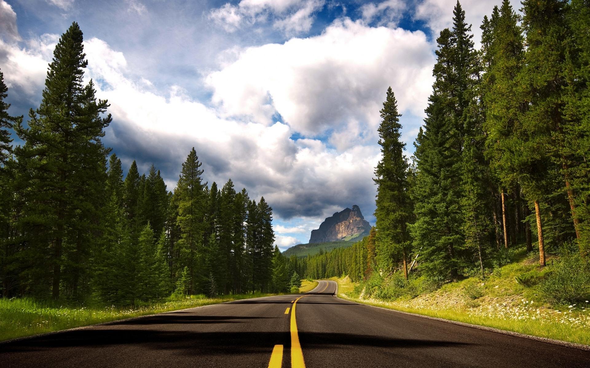 蓝天下唯美道路风景摄影图片电脑壁纸