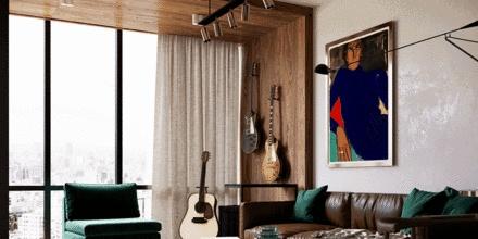50㎡ 轻奢小公寓,翡翠绿+深棕色,高级感十足!