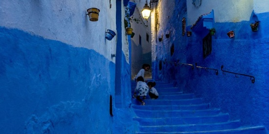摩洛哥蓝色小镇高清图片