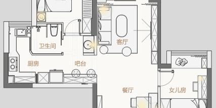 72㎡北欧两居室,色彩丰富有层次!