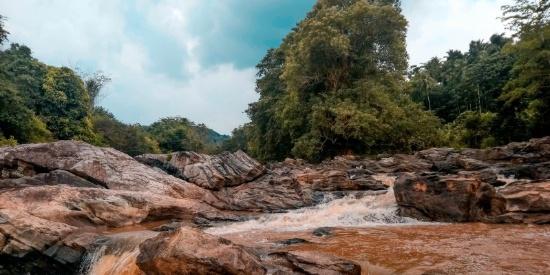 溪流边的岩石图片