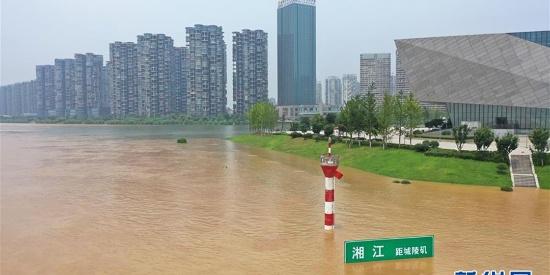 湘江长沙段水位持续暴涨 超警戒水位2.33米