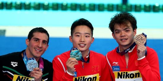 游泳世锦赛男子1米板王宗源摘金