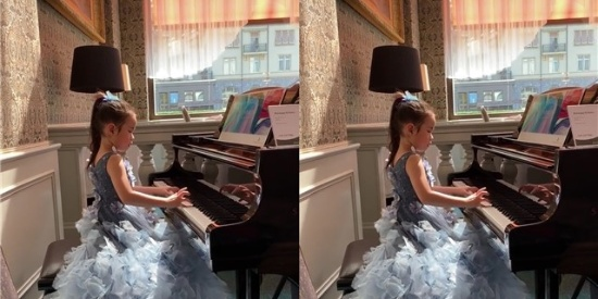 黄奕6岁女儿盛装弹钢琴 变气质小女神