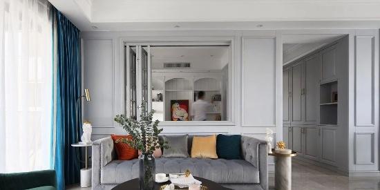 145㎡美式三居,客厅开窗,与书房无障碍。