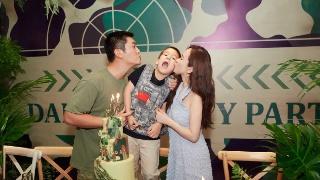 杜江霍思燕为嗯哼办派对 一家三口搞怪亲吻