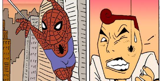 搞笑漫画:鼻子吐丝的男人