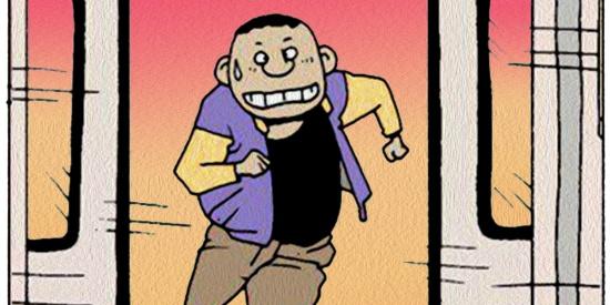 搞笑漫画:地铁门如刀片一样锋利