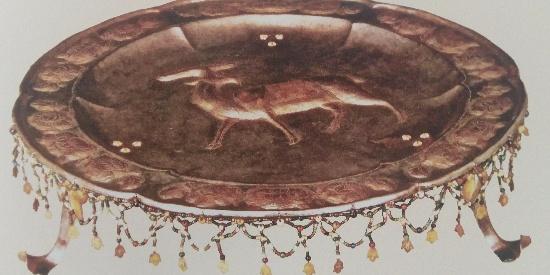 历史唐代文物金铜六曲花形碗