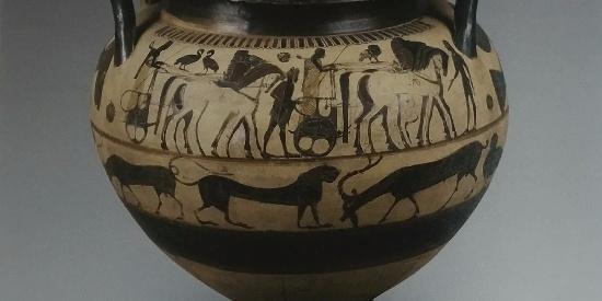 历史古希腊文明科林斯黑纹克拉蒂尔双耳杯