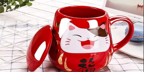 亲测这款萌萌哒的黑科技招财猫不倒翁杯,还能感温变色防烫伤!