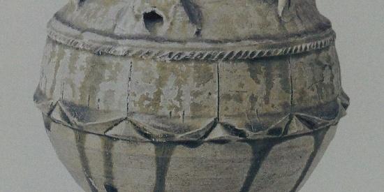 历史文物出土瓷器青釉四系罐