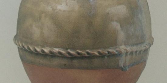 历史文物出土瓷器白釉瓦棱砚