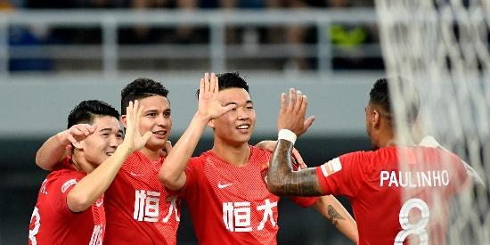 中超联赛第17轮 广州恒大3-0天津泰达 埃尔克森首秀进球
