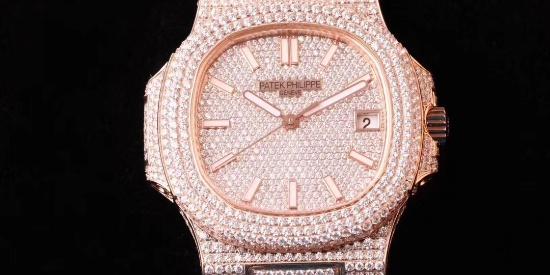 DM百达翡丽鹦鹉螺满天星白金腕表,极致的奢华!