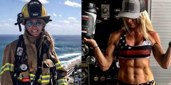 趣图分享:穿衣显瘦,脱衣有肉的美女消防员